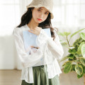 Lace / Chiffon Summer 2020 white S,M,L Long sleeves commute Cardigan singleton  easy have cash less than that is registered in the accounts Solid color pagoda sleeve Bow, tie Korean version