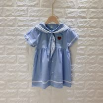 Dress Light blue, pre-sale female Other / other 90, 100, 110, 120, 130, 140 Other 100% summer Solid color cotton 2 years old, 3 years old, 4 years old, 5 years old, 6 years old
