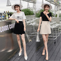 skirt Summer 2020 S,M,L,XL,2XL Apricot, black Short skirt commute High waist A-line skirt Solid color Type A 18-24 years old 31% (inclusive) - 50% (inclusive) other cotton Asymmetric, zipper Korean version
