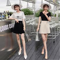 skirt Summer 2020 S,M,L,XL,2XL Apricot, black Short skirt commute High waist A-line skirt Solid color Type A 18-24 years old 31% (inclusive) - 50% (inclusive) other cotton Asymmetric, zipper Korean version