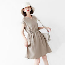 Women's large Summer 2021 Light khaki, deep Tibetan blue Large L, large XL, s, M Dress singleton  commute easy moderate Socket Sleeveless Solid color Ol style other other Bat sleeve RLYQ60138 JOLIMENT 30-34 years old 96% and above Medium length other