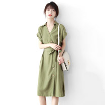 Women's large Spring 2021 Avocado Green Large L, s, M Dress singleton  commute easy moderate Socket Short sleeve Solid color literature V-neck hemp other RLYQ6025042 JOLIMENT 30-34 years old Button 81% (inclusive) - 90% (inclusive) Medium length other