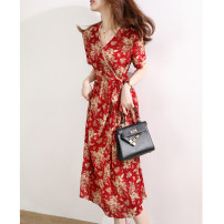 Dress Summer 2021 gules M,L,XL,2XL Short skirt singleton  Short sleeve Sweet V-neck middle-waisted Decor Socket A-line skirt routine 30-34 years old Type A JOLIMENT Lace RLYQ6066213 More than 95% Chiffon polyester fiber