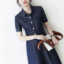 Dress Summer 2021 Denim blue S,M,L,XL Mid length dress singleton  Short sleeve commute Polo collar High waist Solid color Socket other routine Others 30-34 years old Type H JOLIMENT Ol style Pocket, button RLYQ6007151 71% (inclusive) - 80% (inclusive) other cotton