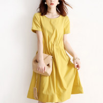 Women's large Summer 2021 yellow Large L, s, M Dress singleton  commute easy moderate Socket Short sleeve Solid color Simplicity Crew neck Medium length polyester routine RLYQ6016445 JOLIMENT 30-34 years old Medium length
