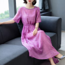 Dress Summer 2020 violet M,L,XL,2XL,3XL longuette singleton  Short sleeve commute Crew neck Loose waist Solid color Socket Big swing routine 35-39 years old Type X Button 6755 in stock 31% (inclusive) - 50% (inclusive) hemp