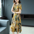Dress Summer of 2019 Gray, yellow M,L,XL,2XL,3XL,4XL Miniskirt singleton  Short sleeve commute Crew neck middle-waisted Decor A-line skirt routine Others Type A Other / other Lace up, printed