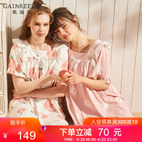 Nightdress Gaingel White peach blossom pink S M L XL Sweet Leisure home Middle-skirt youth HWD21052 Spring 2021 Cotton 95% polyurethane elastic fiber (spandex) 5% Same model in shopping mall (sold online and offline)