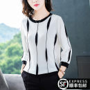 T-shirt M L XL XXL XXXL Autumn of 2019 three quarter sleeve Crew neck easy have cash less than that is registered in the accounts routine commute other 96% and above Korean version youth Vertical stripe Mathila Other 100%