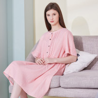 Nightdress Cherie Pink, milky white, light gray, black, orange, dark blue, light purple M (for 80-100 kg), l (for 101-120 kg), XL (for 121-140 kg), XXL (for 141-160 kg) Simplicity Short sleeve Leisure home Middle-skirt summer Solid color youth Crew neck cotton Lotus leaf edge More than 95% CYPJ24453