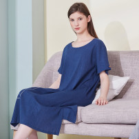 Nightdress Cherie Dark blue, milky white, light gray, orange, lemon yellow, emerald green, light purple M (for 80-100 kg), l (for 101-120 kg), XL (for 121-140 kg), XXL (for 141-160 kg) Simplicity Short sleeve Leisure home longuette summer other youth Crew neck cotton More than 95% pure cotton 200g