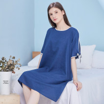 Nightdress Devimo Dark blue, milky white, light gray, black, orange, khaki, light green M (for 80-100 kg), l (for 101-120 kg), XL (for 121-140 kg), XXL (for 141-160 kg) Simplicity Short sleeve Leisure home Middle-skirt summer Solid color youth Crew neck viscose  41% (inclusive) - 60% (inclusive) 220g