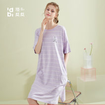 Nightdress Top melon Lilac coast blue stone green 160(M) 165(L) 170(XL) Simplicity Short sleeve Leisure home Middle-skirt summer stripe youth Crew neck cotton printing More than 95% pure cotton DJJWX-AN23034 Summer 2021 Cotton 100% Same model in shopping mall (sold online and offline)