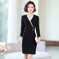 Dress Spring 2021 black S,M,L,XL,2XL,3XL Mid length dress singleton  Long sleeves commute V-neck High waist other zipper One pace skirt routine 25-29 years old Type H Korean version Splicing, three-dimensional decoration 6882 real shot 31% (inclusive) - 50% (inclusive) brocade nylon