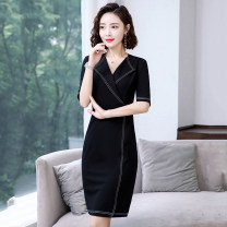 Dress Spring 2021 black S,M,L,XL,2XL Miniskirt singleton  Short sleeve commute V-neck High waist Solid color One pace skirt routine 25-29 years old Type H Other / other Korean version Splicing 31% (inclusive) - 50% (inclusive) other polyester fiber