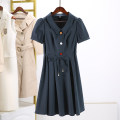 Dress Summer 2021 Navy, dark blue M,L,XL,2XL Mid length dress commute stand collar Solid color 91% (inclusive) - 95% (inclusive) nylon
