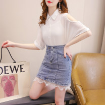 Fashion suit Summer 2021 S,M,L,XL White top + denim skirt, single white top, single denim skirt Other / other 81% (inclusive) - 90% (inclusive)