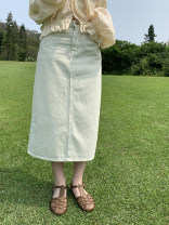 skirt Spring 2021 S. M, l, model size S mint green  Mid length dress commute High waist A-line skirt Solid color 18-24 years old Ky1007 solid skirt (4.12) Denim other Korean version