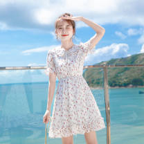Dress Summer 2021 Floral skirt S_ Recommended [75-85 kg], M_ Recommended [85-95 kg], L_ Recommended [95-105 kg], XL_ Recommended [105-120 kg], 2XL_ Suggestion [120-135 kg] 1 Middle-skirt singleton  Short sleeve commute Doll Collar Broken flowers A-line skirt Others saneee Bow, print, Ruffle Chiffon