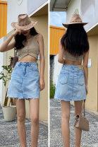 skirt Summer 2021 Short skirt Natural waist A-line skirt Versatile 91% (inclusive) - 95% (inclusive) other cotton 25-29 years old Type A 66116 Denim 25,26,27,28,29 wathet