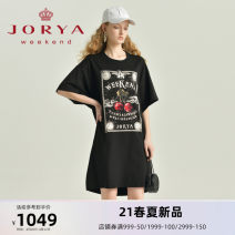 Dress Spring 2021 black S M L XL Middle-skirt Short sleeve commute Crew neck middle-waisted Socket One pace skirt routine 25-29 years old Type H JORYA weekend Simplicity printing EJWBBJ05 31% (inclusive) - 50% (inclusive) nylon Same model in shopping mall (sold online and offline)