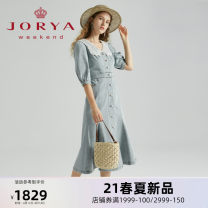 Dress Spring 2021 Blue (60 pieces in stock, 30 days after other payment) S M L XL Mid length dress Short sleeve Sweet Doll Collar middle-waisted Single breasted routine 25-29 years old Type X JORYA weekend Button lace EJWBAQ42 51% (inclusive) - 70% (inclusive) cotton Ruili