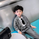 suit Water spray Black, gray male spring and autumn Korean version Long sleeve + pants 2 pieces routine There are models in the real shooting double-breasted nothing other Cotton blended fabric children birthday Class A Cotton 80% polyester 20% Chinese Mainland Zhejiang Province Wenzhou City
