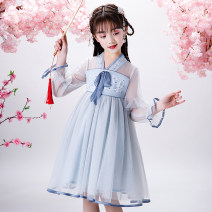 Dress Blue, purple, blue short sleeves, purple short sleeves female Other / other 110cm,120cm,130cm,140cm,150cm,160cm Other 100% summer Chinese style Long sleeves Solid color other A-line skirt Class B 2, 3, 4, 5, 6, 7, 8, 9, 10, 11, 12, 13, 14 years old