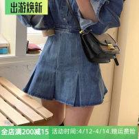 skirt Spring 2021 S,M,L,XL,2XL,3XL,4XL Half skirt Short skirt commute High waist Pleated skirt Solid color Type A Denim Zipper, pleat and three-dimensional decoration Korean version