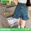 skirt Summer 2021 S,M,L,XL,2XL,3XL,4XL Denim blue, denim black Short skirt Versatile High waist Irregular Solid color Type A Denim cotton Ruffle, three-dimensional decoration, asymmetry, wave, button, zipper, stitching