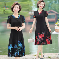 Middle aged and old women's wear Summer 2020 Red flower on black background yellow flower on black background blue flower on black background XL (90-105 Jin) 2XL (105-120 Jin) 3XL (120-135 Jin) 4XL (135-145 Jin) 5XL (145-160 Jin) fashion Dress easy singleton  Decor 40-49 years old Socket moderate