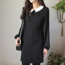 Dress Spring of 2018 black S,M,L Mid length dress singleton  Long sleeves commute 25-29 years old Type X Other / other Splicing
