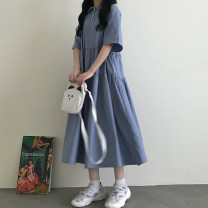 Dress Summer 2021 blue Average size Mid length dress singleton  Short sleeve Sweet Doll Collar Loose waist Solid color A-line skirt routine 18-24 years old 81% (inclusive) - 90% (inclusive) college