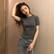T-shirt Black, white, brown, gray S,M,L Summer 2021 Short sleeve Crew neck Self cultivation have cash less than that is registered in the accounts routine commute other 96% and above 18-24 years old Korean version Other / other 2lin29