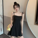 Dress Summer 2021 Yellow, black S,M,L Short skirt singleton  Sleeveless commute other High waist Broken flowers other routine 18-24 years old Type A Korean version 4¥1
