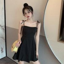 Dress Summer 2021 Yellow, black S,M,L Short skirt singleton  Sleeveless commute other High waist Broken flowers other routine 18-24 years old Type A Korean version 4¥1