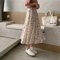 skirt Spring 2021 S,M,L Apricot, pink Mid length dress commute High waist A-line skirt Broken flowers Type A 18-24 years old 2#23 71% (inclusive) - 80% (inclusive) other other Korean version