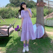 Dress Summer 2021 White, purple, red S,M,L Mid length dress singleton  Short sleeve commute other High waist Solid color Socket other routine Others 18-24 years old Type H Other / other Korean version Splicing 3¥6 71% (inclusive) - 80% (inclusive) other other
