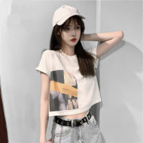 T-shirt Grey, white S,M,L,XL Summer 2021 Short sleeve Crew neck easy have cash less than that is registered in the accounts routine commute cotton 86% (inclusive) -95% (inclusive) 18-24 years old Korean version 4¥1