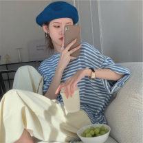 T-shirt blue S,M,L,XL Summer 2021 Short sleeve Crew neck easy Regular routine commute cotton 86% (inclusive) -95% (inclusive) 18-24 years old Korean version 4¥1