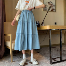 skirt Spring 2021 Average size White, denim blue Mid length dress commute High waist A-line skirt Solid color Type A 18-24 years old 3T4 other cotton Korean version