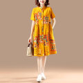 Dress Summer 2020 Red, yellow Mid length dress singleton  Short sleeve commute stand collar Loose waist Decor Single breasted A-line skirt routine Others Other / other ethnic style printing hemp