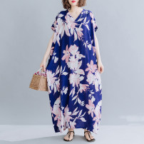 Women's large Summer 2020 Picture color One size fits all [120-260 kg recommended] Dress singleton  commute easy moderate Socket Short sleeve Decor Korean version V-neck cotton printing and dyeing routine Other / other Resin fixation longuette other
