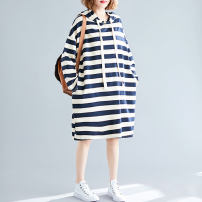 Women's large Autumn 2020 Picture color One size fits all [recommended 100-210 kg] Dress singleton  commute easy moderate Socket Long sleeves stripe Korean version Hood Cotton, polyester Three dimensional cutting routine Other / other pocket Medium length other