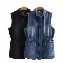 Vest Autumn 2020 Blue, black Big XL [130-149 Jin], big 2XL [150-179 Jin], big 3XL [180-200 Jin] Medium length Solid color cotton