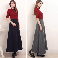 skirt Summer of 2019 M,L,XL longuette Versatile High waist A-line skirt Solid color Type A modal