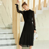 Dress Summer 2021 black S,M,L,XL longuette singleton  Long sleeves commute other middle-waisted Solid color Single breasted Princess Dress routine Others 30-34 years old Type A SJU Simplicity More than 95% other