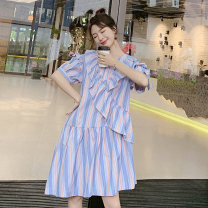 Dress Summer 2021 Picture color S,M,L Middle-skirt singleton  Short sleeve Sweet Crew neck stripe 25-29 years old Type A Other / other ZB022815 Countryside