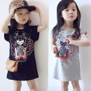 Dress White, gray, black female Other / other Other 100% summer leisure time Short sleeve Cartoon animation Cotton blended fabric A-line skirt Class B 2 years old, 3 years old, 4 years old, 5 years old, 6 years old, 7 years old, 8 years old