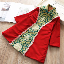 Dress gules female Other / other 100 = 7, 110 = 9, 120 = 11, 130 = 13, 135 = 15 Other 100% winter ethnic style Long sleeves other A-line skirt Class B Three, four, five, six, seven, eight